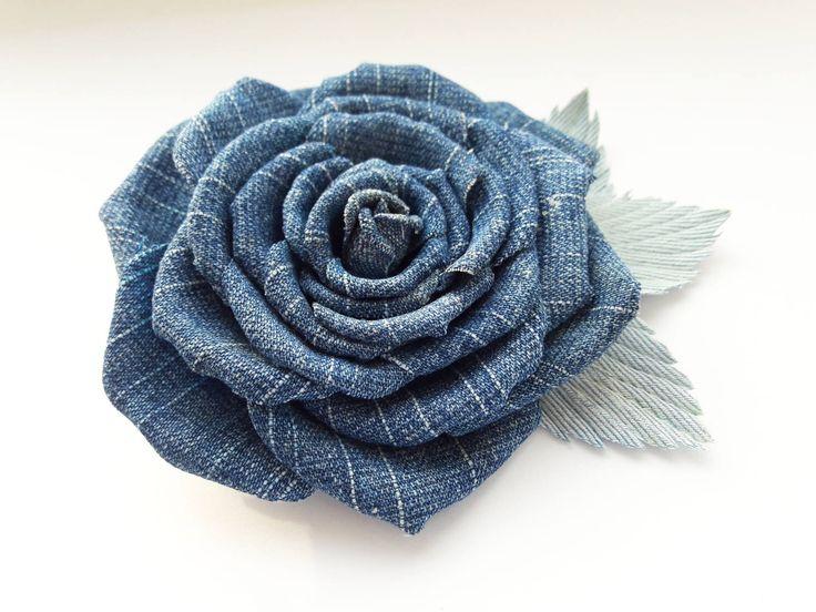 Denim jeans fabric Blue Rose  flower brooch Hair clip barrette  Handmade accessories, Women Lady Handmade Jewelry, gift by LeatherFlowerArt on Etsy https://www.etsy.com/listing/525497572/denim-jeans-fabric-blue-rose-flower