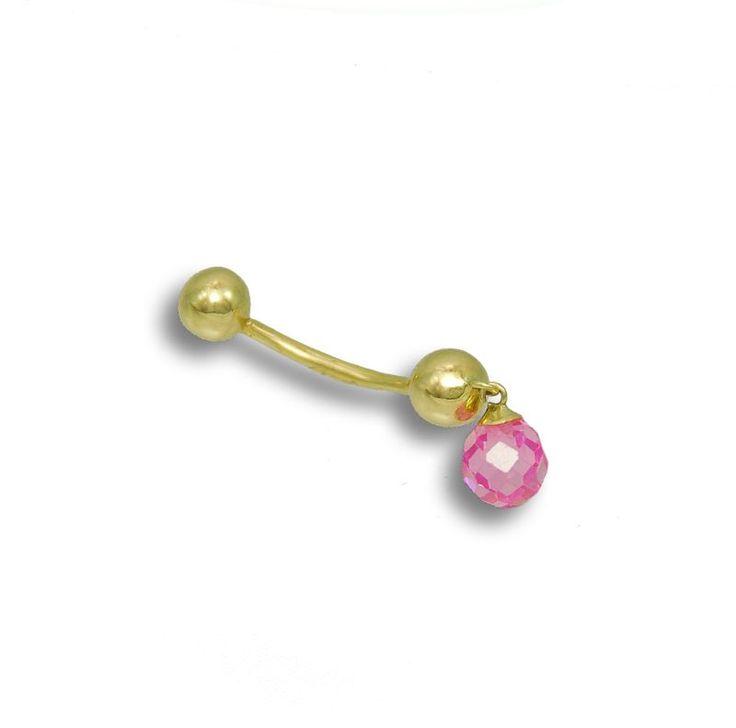 Zlatý piercing Rose Leaf - osazený růženínem