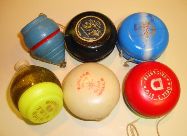 At 1st these were wooden and then they came out in plastic for the yo yos. I had a Duncan yo yo. But I especially loved my top.