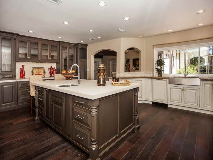 Dark Wood Floor Kitchen wood kitchen cabinets with wood floors - clubdeases