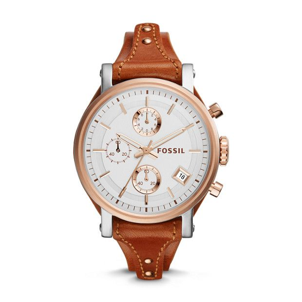 Our Original Boyfriend's heritage design flirts with femininity in a fresh way. A precise chronograph movement and statement-making case make this special watch the accessory for the well-dressed tomboy.