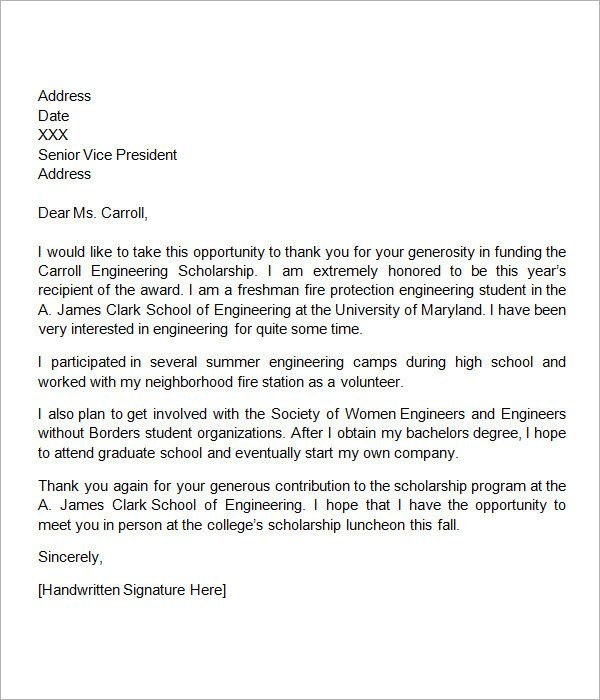 Scholarship Thank You Letters Examples Lovely 13 Sample