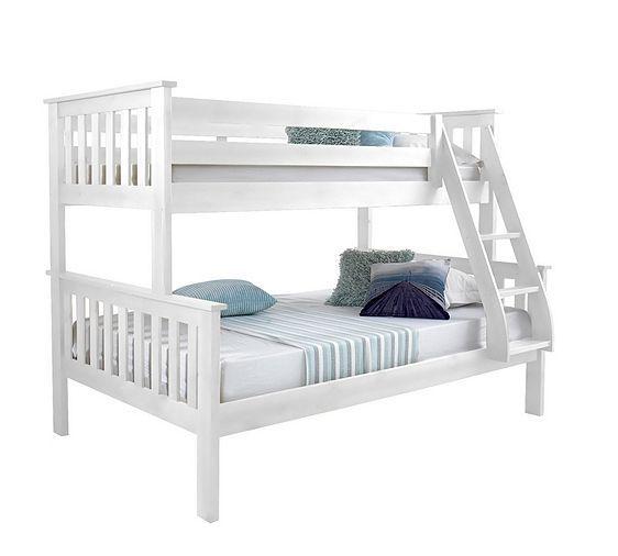 Tesco direct: Happy Beds Atlantis White Solid Pine Wooden Triple Sleeper Bunk Bed 2 Pocket Sprung Mattresses