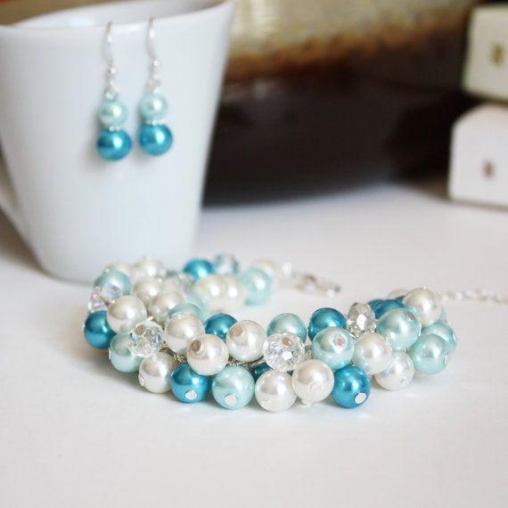 Bridal Jewelry, Turquoise Aqua Ivory Glass Pearl Crystal Cluster Bracelet Earrings Set, Bridesmaid Gift, Pearl Jewelry Set, Beach Wedding
