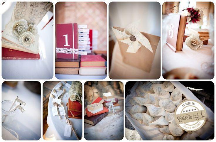 Book themed crafty wedding. Ph Infraordinario http://www.brideinitaly.com/2013/01/real-wedding-crafty-chic-per-amanti.html #italianstyle #crafty
