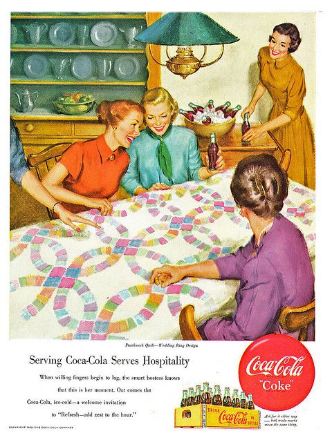 Coca-Cola at quilting beeWedding Ring, Coke, Bees Illustration, Hands Quilt, 1950Cocacola Servings, 1950 Coca Cola Servings, Vintage Ads, Quilt Bees, Vintage Coca Cola
