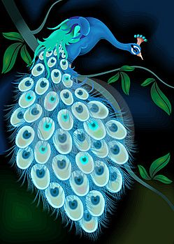 Painting Of Peacock On Tree Branch ~ Peacocks Im all sizes And Guises.