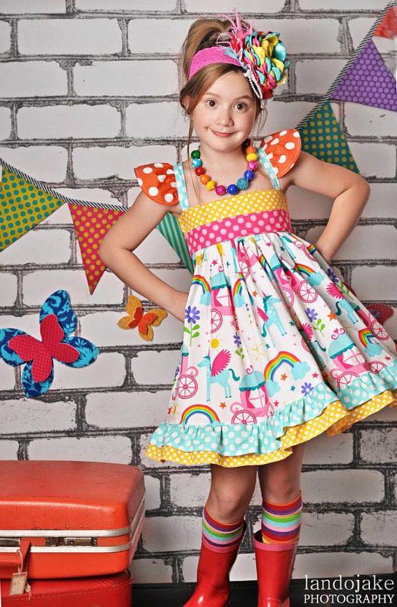Unicorn and Rainbow Dress Ruffle Party Birthday Polkadot Halter on Etsy, $65.00