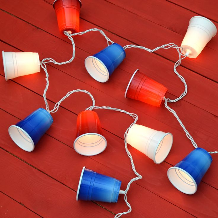 Party Cup String Lights : 30 best Patriotic Lights! images on Pinterest Red white blue, String lights and Bulbs