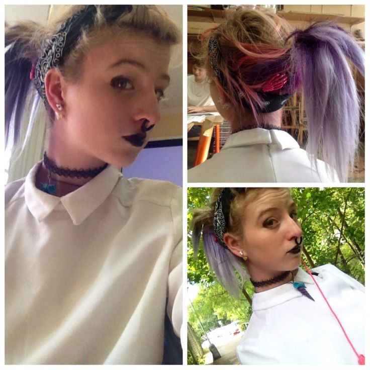 Pastel goth OOTD Septum : crazy factory Tattochoker : ebay T-shirt : terranova  Hair clips ; ebay Headband : newyorker  Lipstick : clears Unicorn horn neckler : made by me   ChibiMikuXx