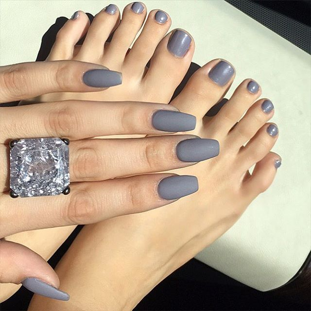 "This weeks Mani/Pedi ✨I decided on this gorgeous lavender/gray color called ""Platinum"" I went matte (Mattitude) on my nails & gel (So Gel-ish) on my toes. All polishes are from @lauragpolish #treatyoself #lauragpolish #laurag_143 - Link in bio www.lauragpolish.com"