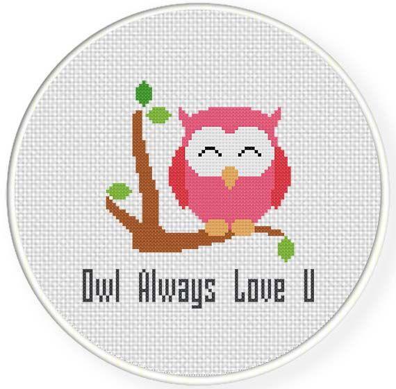Cute Free Owl Always Love You Cross Stitch Pattern. #owls #cross_stitch #patterns