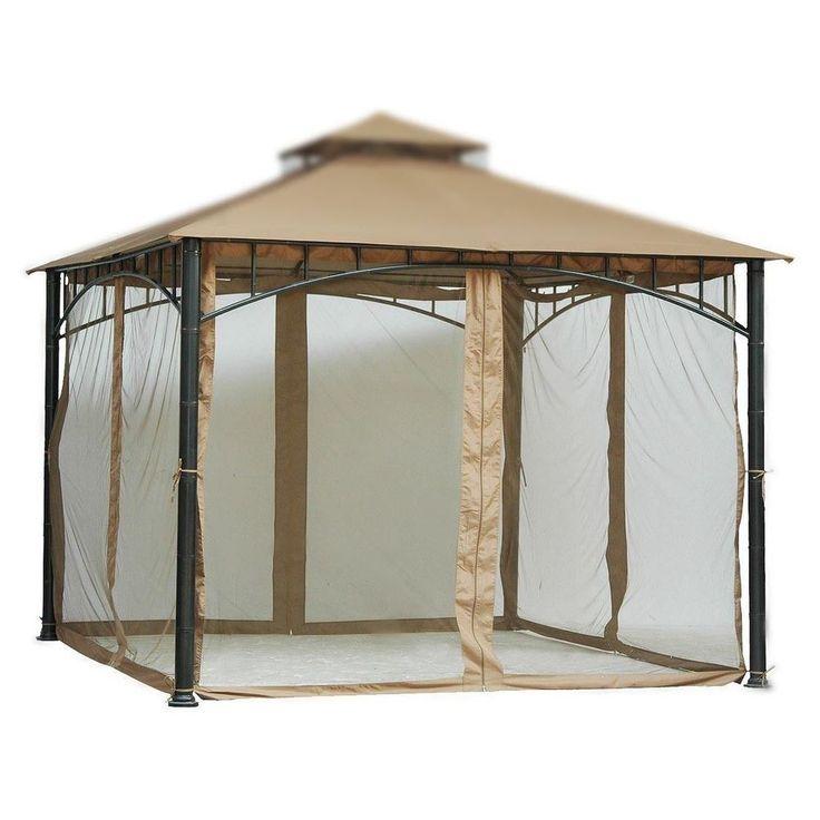 Gazebo Mosquito Net Velcro Straps For Outdoor Patio 10x10 Canopy Tent 7 Ft Beige #GazeboMosquitoNet #Squarefor10x10Gazebo