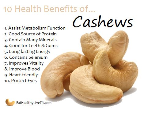 The Health Benefits of Cashews | Eating Healthy & Living Fit - EatHealthyLiveFit.com