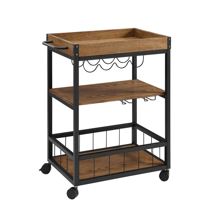 Austin Kitchen Cart Metal/Wood – Linon, Black