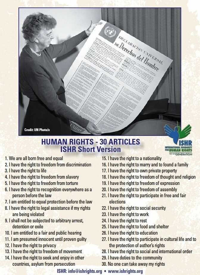 universal declaration of rights Universal declaration of human rights 1948 friday, 10 december, 1948  source: united nations general assembly article 1 states that all human beings  are.