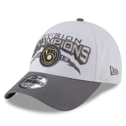 15323dd44dbcb7 New Era Milwaukee Brewers Gray 2018 NL Central Division Champions 9FORTY