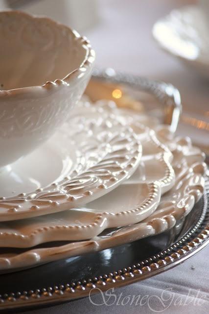 ⌺ Splendid Table Settings ⌺    embossed white stoneware