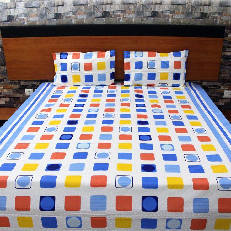 Colourful Blocks Design Bed Sheet. Handmade bedding set by NeedleEyesBoutique on Etsy
