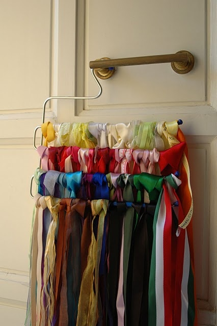 Ribbon Organization: Crafts Ideas, Ribbons Mayhem, Crafts Rooms, Ribbons Storage, Hair Ribbons, Ribbons Organizations, Pants Hangers, Storage Ideas, Organizations Ribbons