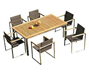 Tavolo allungabile in teak e acciaio Helsinki - l 180/240 cm