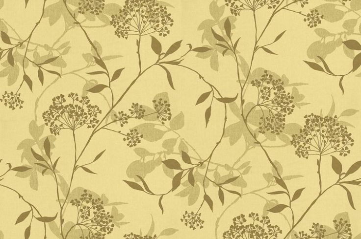 Fusion (75485) - Harlequin Wallpapers - Two pretty floral trails overlaid on a linen look base create this subtle effect. Available in 5 colours. Shown in the gold metallic and green on soft lime green. Please ask for sample for true colour match.