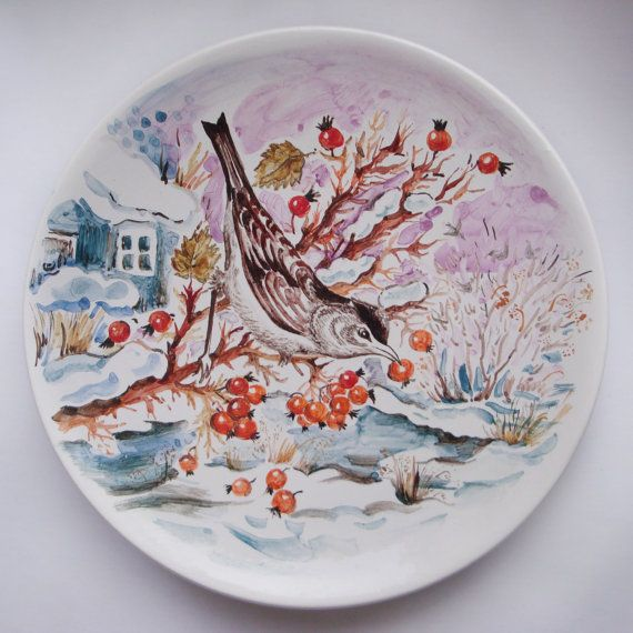MADE TO ORDER Hand Painted Ceramic Plate by Natvasclayandpaper