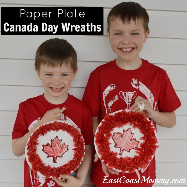 Simple Canada Day Wreath (made from a paper plate and tissue paper). Cute!