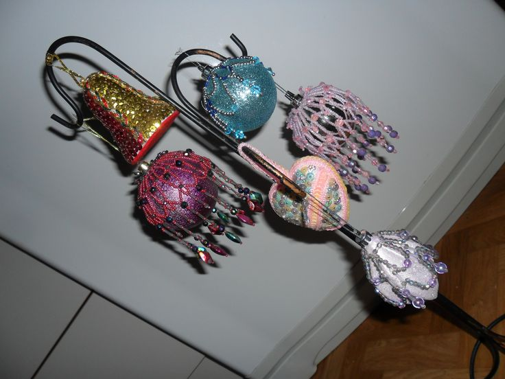 some of the baubles and sequin foam ball