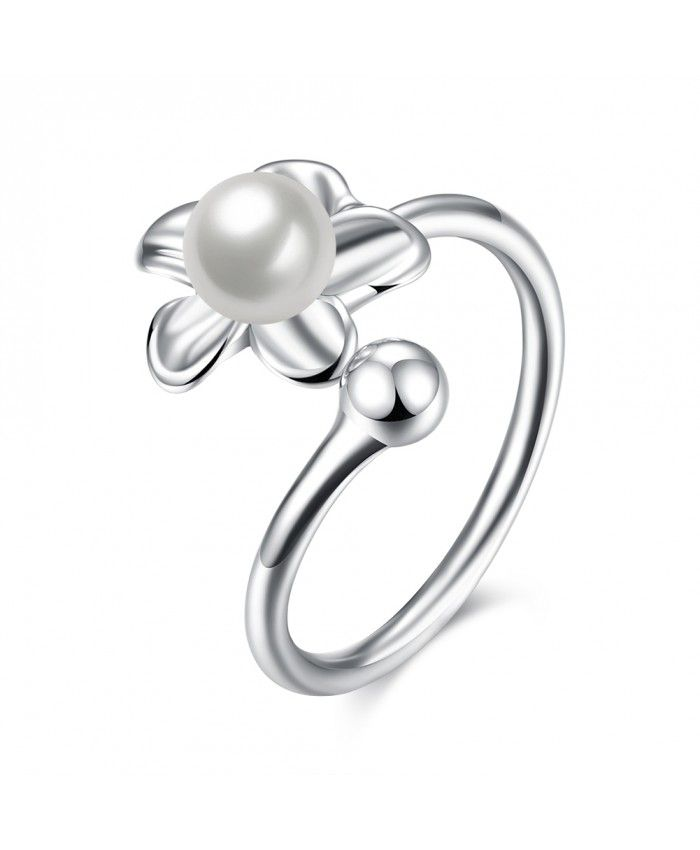 925 Sterling Silver Engagement Engagement Rings With Shell Bead Flower