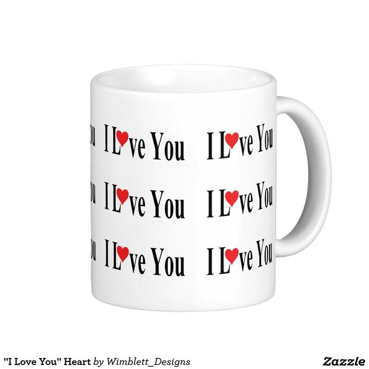 """I Love You"" Heart Basic White Mug"
