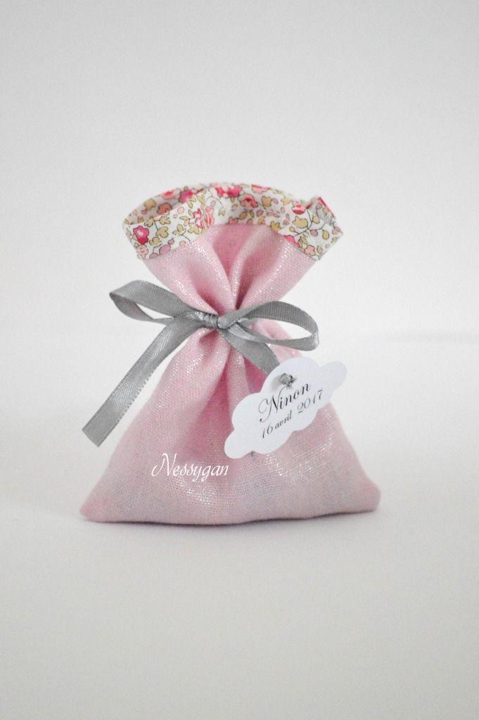 Pochon pour dragées lin lamé rose & Liberty Eloïse rose - Pochon dragées pour baptême, mariage