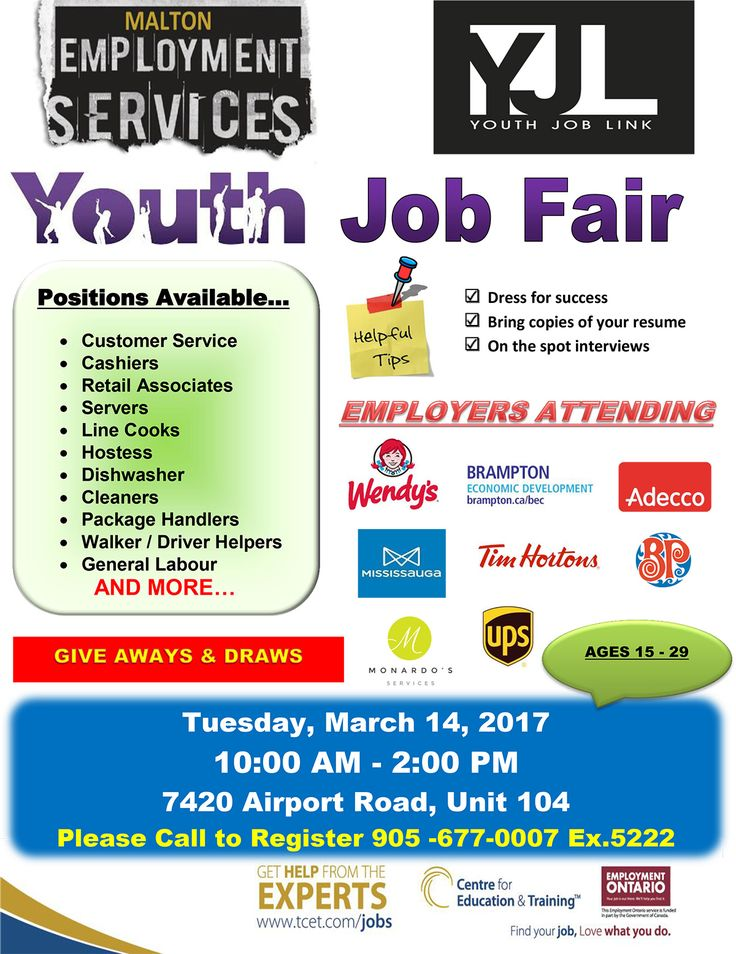 YJL Youth Job Fair! This Tuesday March 14, 2017 at #TCET_Malton . If you are between the ages of 15 & 29 and are looking for work, you can stop by and meet with EIGHT major local employers! This is your chance to get hired! A multitude of different positions are available. To register call 905-677-0007 ext. 5222 #T_C_E_T #jobs