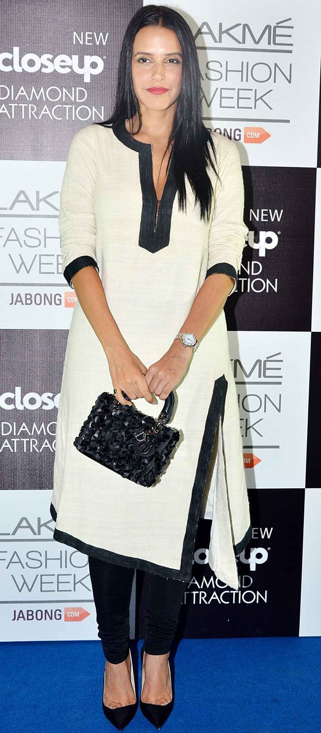 Neha Dhupia on Day 5 at the Lakme Fashion Week Winter/Festive 2014. #Bollywood #Fashion #Style #Beauty