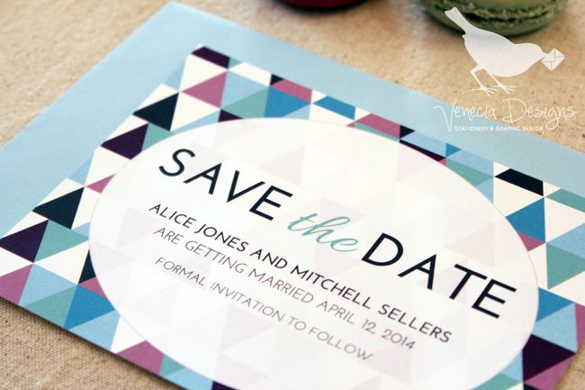 The Kingfisher Suite Save-the-Date, customise with your own colours :: by Venecia Designs