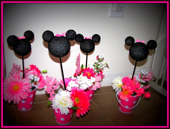 Minnie Mouse Birthday Centerpieces set of 4 by eryacah on Etsy, $35.00