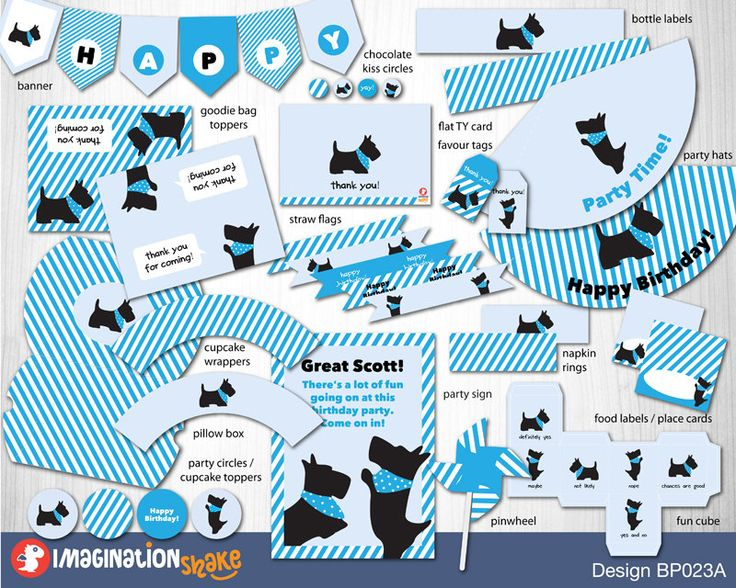 Scotties Birthday Package PRINTABLE / Great Scott Birthday Printouts / Blue Boy Birthday / Party Printables / Scottish Terrier Party / Kids - pinned by pin4etsy.com