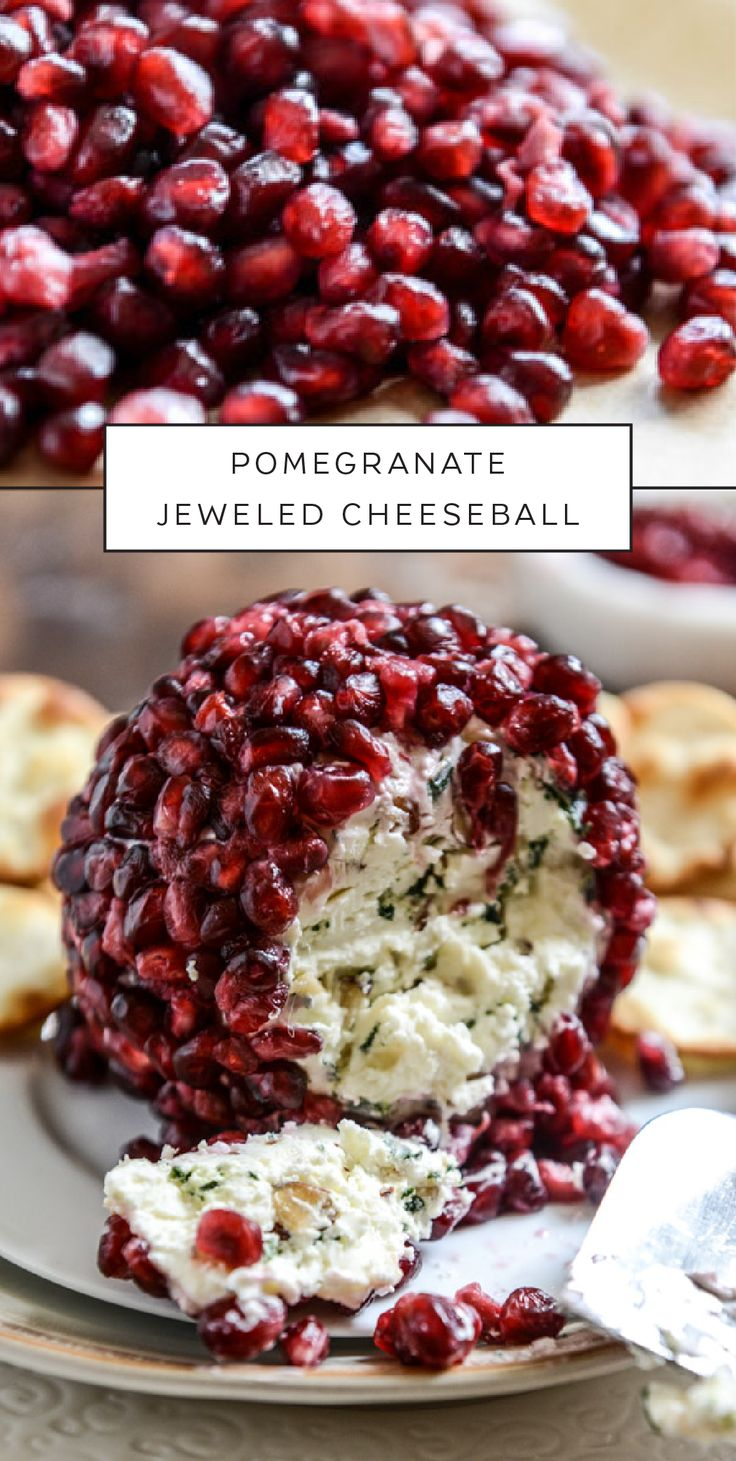 Pomegranate seeds are beautiful to look at and yummy to eat, with tons of healthy antioxidants. This savory Pomegranate Jeweled Cheeseball highlights the rich color and incredible flavor of this yummy fruit. Enjoy the contrast of sharp cheddar cheese, toasted almonds, and savory sage with the sweetness of the pomegranate. Your guests will be impressed by this easy appetizer.