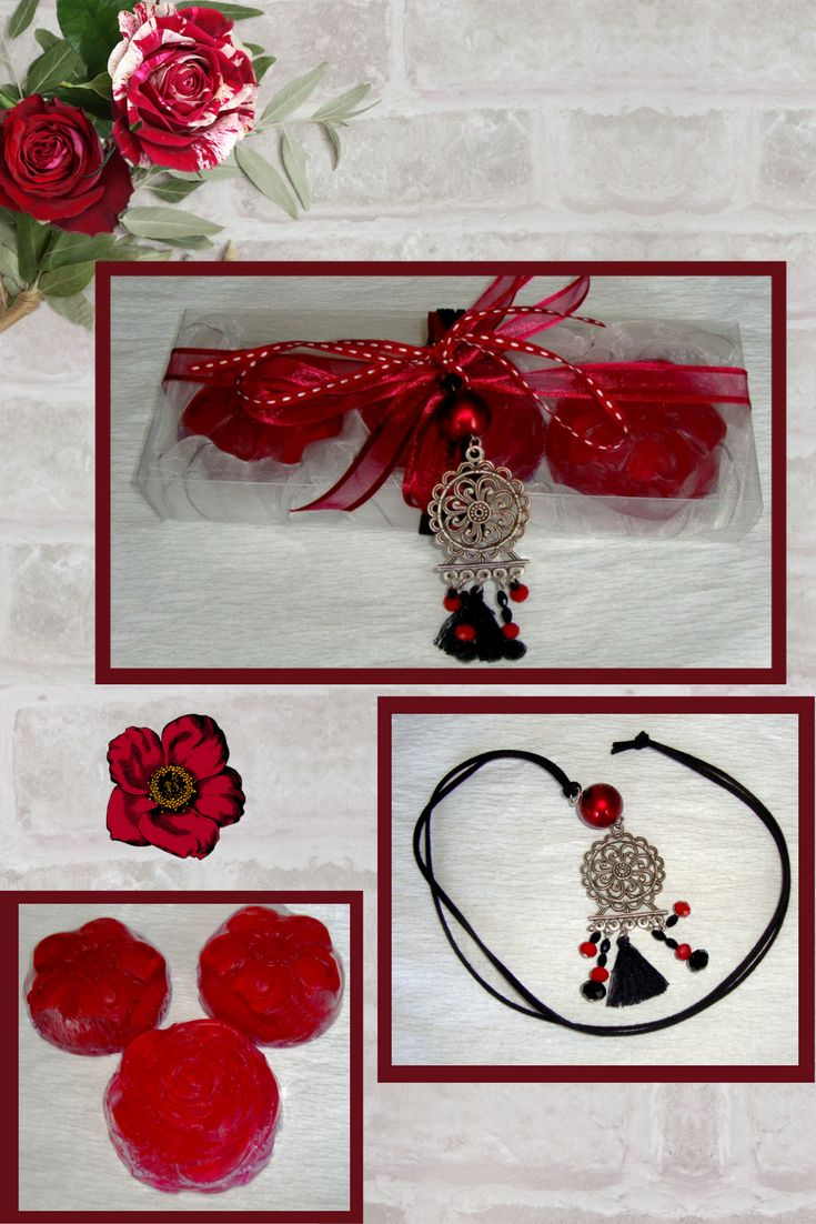 Does she like Boho style?  This luxury handmade Boho gift box is a cool and budget-friendly gift idea to treat a special lady to a present she'll love. A unique Gift Set for her: Three Bordeaux wine color small Flower Scented Glycerin Luxury Soaps, Pomegranate scent, with a lovely Handmade Silver-Red-Black Jewelry Necklace in the packaging. With that gift, I offer you the possibility to buy 2 different items in the price of one!