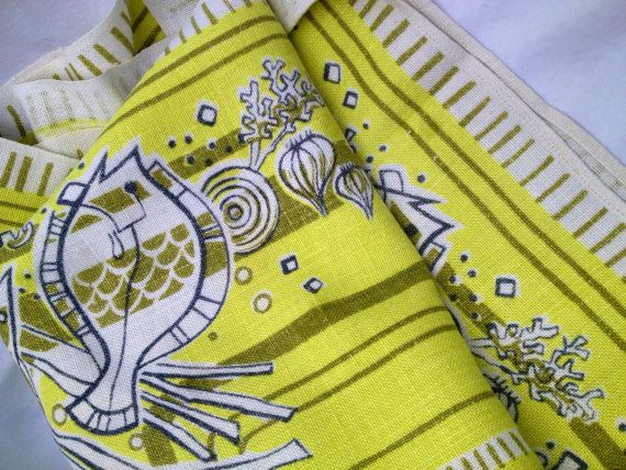 50s Vintage Mid Century Modern Tablecloth With By Inspiria On Etsy, Kr150.00