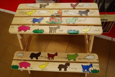 While this decoration isn't my style, kid picnic tables are useful and versatile and could be decorated lots of ways.