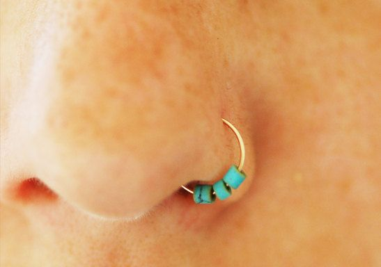 Turquoise nose ring gold hoop nose earring turquoise by maylovely, $9.99