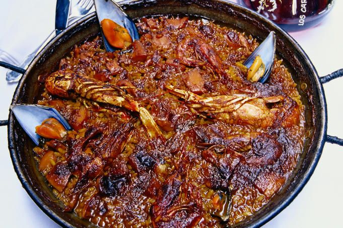 Food from restaurant Los Carocoles: Paella - Barcelona, Catalunya. Seafood paella to die for. Best ever!
