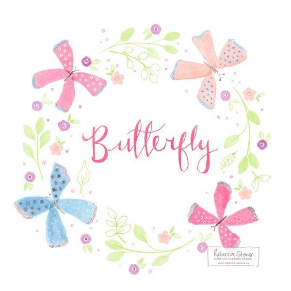 Watercolour Butterfly Wreath by Rebecca Stoner - Week 2 of my Animal Alphabet project #animalalphabet2016 #handdrawnlettering #butterfly #butterflies