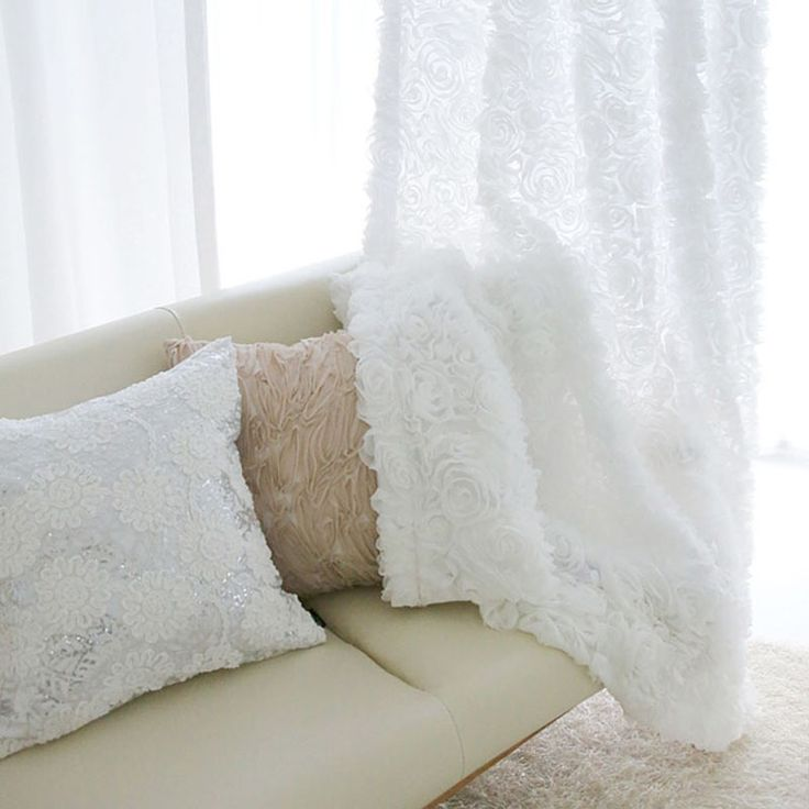 Padat Putih Tulle Jendela Gorden untuk Kamar Tidur Tirai untuk Ruang Tamu Naik Jacquard Sheer Tirai Dapur Tirai Kecil Mawar