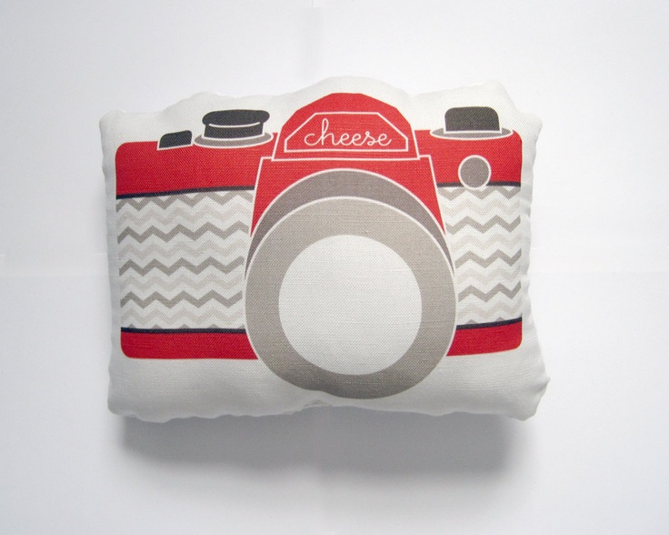 Camera Plush / Pillow in Red, Tan and Brown Chevron by Yellow Heart Art featured in Every Day with Rachael Ray Magazine. $24.50, via Etsy.