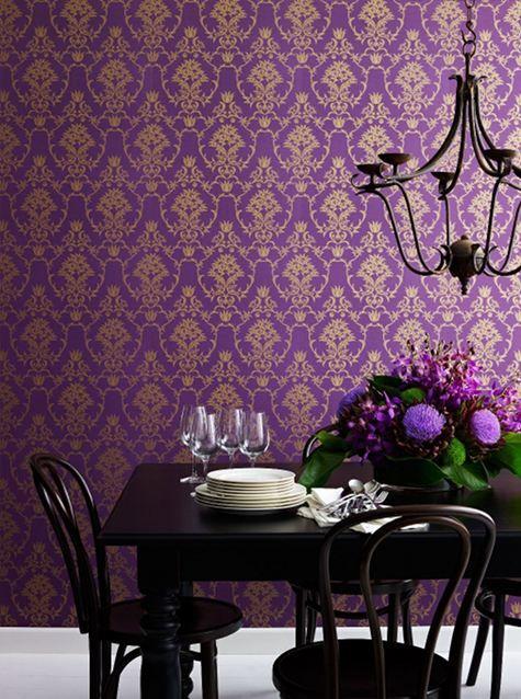 Flannel flower damask wallpaper in gold on purple