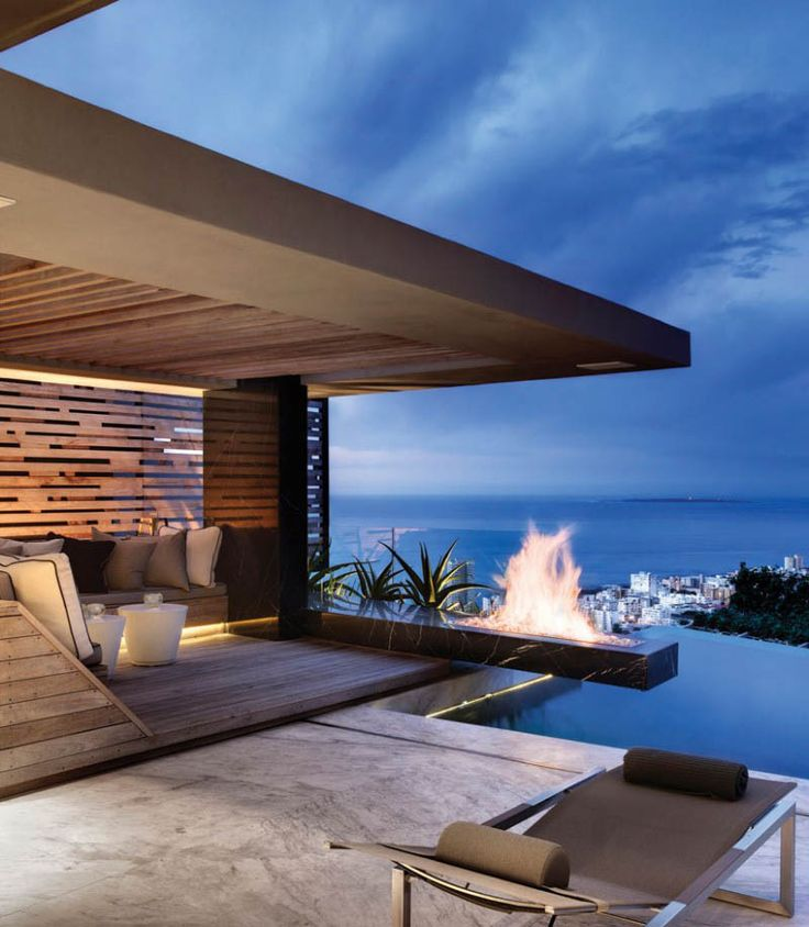 Outdoor Luxury Pool House: Modern Rooftop Terrace With Pool House