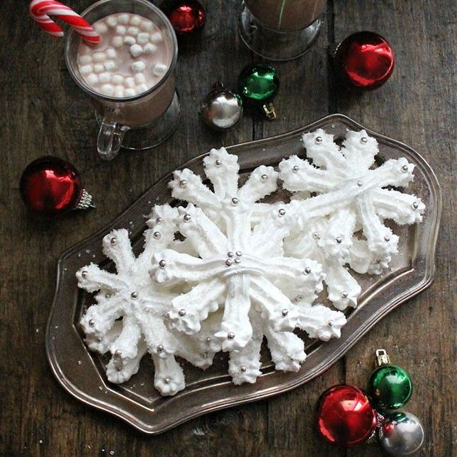 Whip up these meringue snowflakes for the holidays.