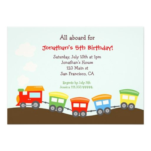 The 417 best Train Birthday Party Invitations images on Pinterest
